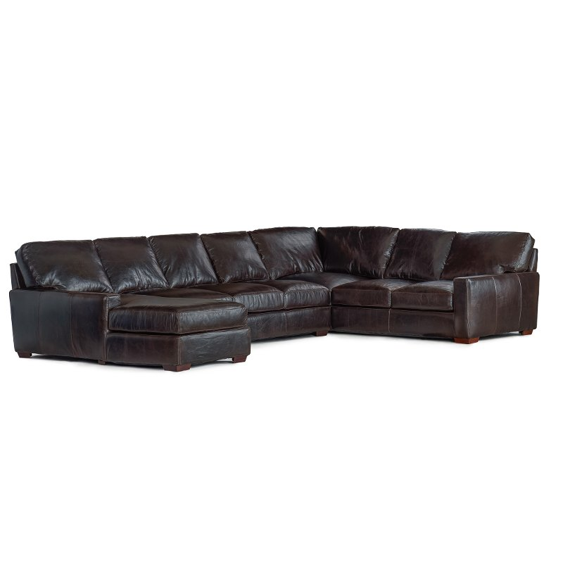Brown Contemporary 4 Piece Leather Sectional Sofa Mayfair