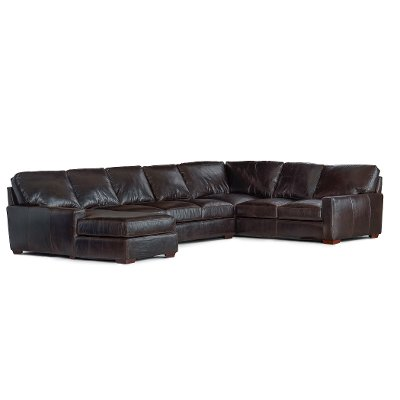 Tobacco Brown Leather Contemporary 4 Piece Sectional