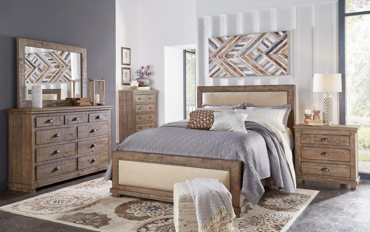pine gray casual rustic 6 piece queen bedroom set willow rc willey furniture store. Black Bedroom Furniture Sets. Home Design Ideas