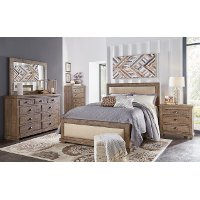 Pine and Gray Upholstered California King Bed - Willow