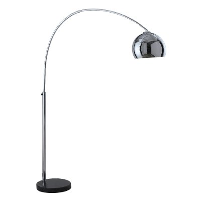 Chrome Arc Lamp dark chrome metal arc floor lamp | rc willey furniture store