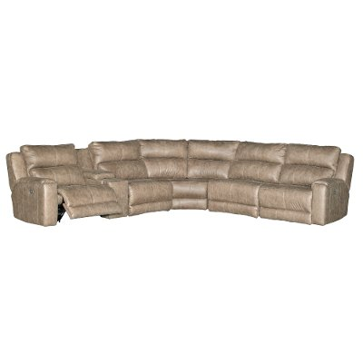vintage taupe 6piece power reclining sectional dazzle