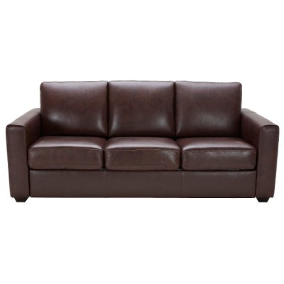 Brown Leather Match Queen Sofa Bed   Denver