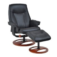 Black Swivel Recliner & Ottoman - Stress Free