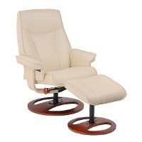 Taupe Swivel Recliner & Ottoman - Stress Free