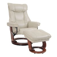 Augusta Taupe Swivel Recliner & Ottoman - Stress Free