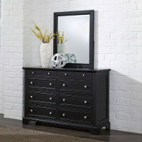 Black 6-Drawer Dresser & Mirror - Bedford
