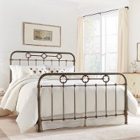 B1098/METALBED6/6 Rustic King Metal Bed - Madera Collection