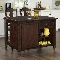 Bourbon Kitchen Island and Two Bar Stools - Country Comfort