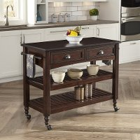 Bourbon Kitchen Cart with Wood Top - Country Comfort