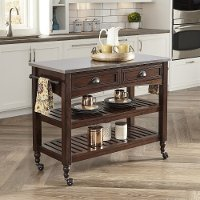 Bourbon Kitchen Cart with Stainless Steel Top -  Country Comfort