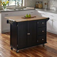 Black Wood Top Kitchen Cart - Liberty