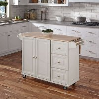 White Wood Top Kitchen Cart - Liberty