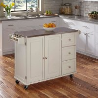 White Stainless Top Kitchen Cart - Liberty