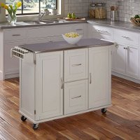 White Stainless Top Kitchen Cart - Patriot