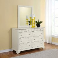 White Dresser & Mirror - Naples