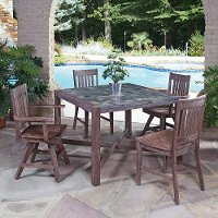 Mosaic Slate 5 Piece Square Table Dining Set - Morocco