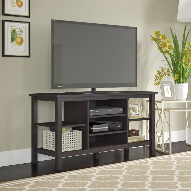 Espresso Brown Oak Modern 55 Inch Tv Stand Broadview