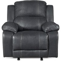 Steamboat Charcoal Gray Leather-Match Rocker Recliner - Monticello
