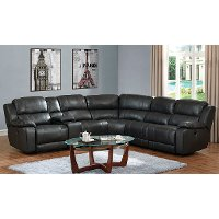 Charcoal Gray Leather-Match 6 Piece Reclining Sectional Sofa - Monticello
