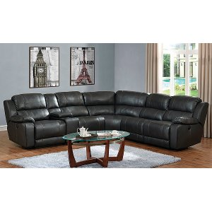 Steamboat Charcoal Gray Leather Match 6 Piece Reclining Sectional