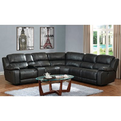Steamboat Charcoal Gray Leather-Match 6 Piece Reclining Sectional -  Monticello