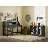 Espresso Oak Open Storage Desk, Organizer, Bookcase - Broadview