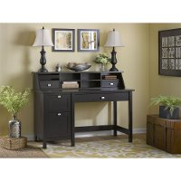 Espresso Oak Single Pedestal Desk, File, Organizer - Broadview