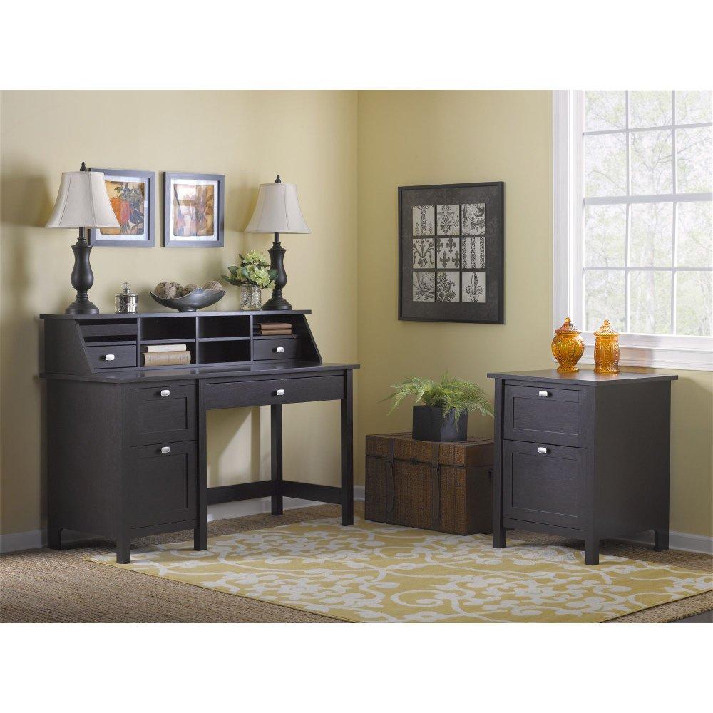 Espresso Oak Single Pedestal Desk Organizer File Broadview Rc Willey Furniture