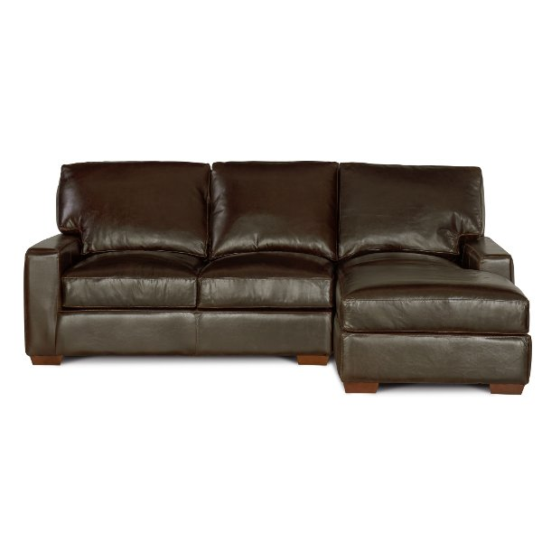 ... Contemporary Brown Leather Sofa Chaise   Mayfair