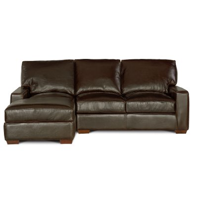 Contemporary Brown Leather Sofa-Chaise - Mayfair | Rc Willey