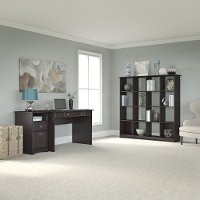 Espresso Oak 48 Inch Writing Desk, Pedestal File, Bookcase - Cabot