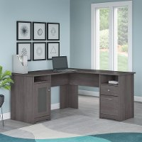 Heather Gray Wide L-Desk (60 Inch) - Cabot