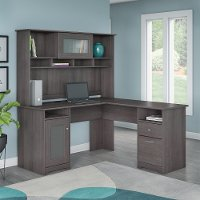 Heather Gray L-Desk with Hutch - Cabot