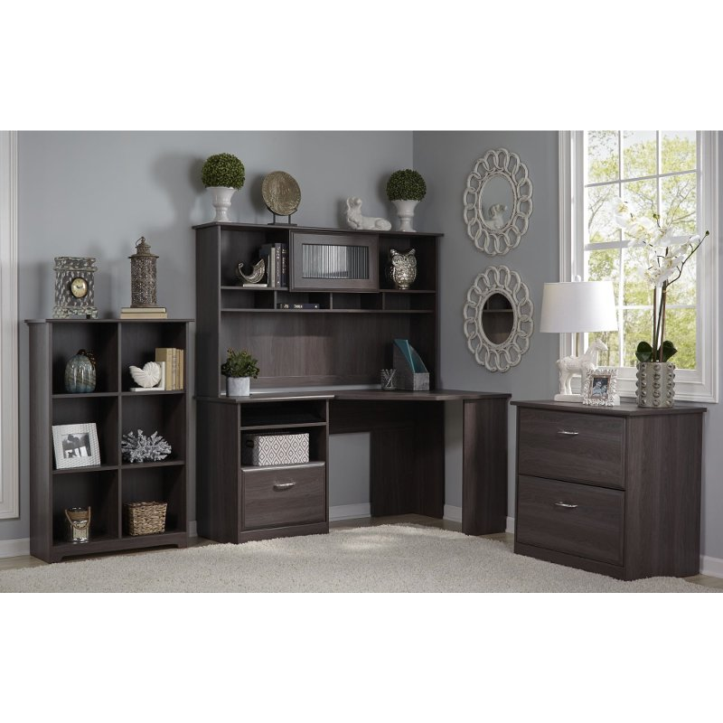 Heather Gray Corner Desk with Hutch, Lateral File, Bookcase - Cabot