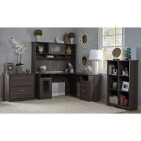Heather Gray L-Desk with Hutch, Lateral File, Bookcase - Cabot