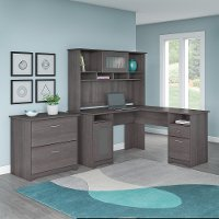 Heather Gray L-Desk with Hutch and Lateral File - Cabot