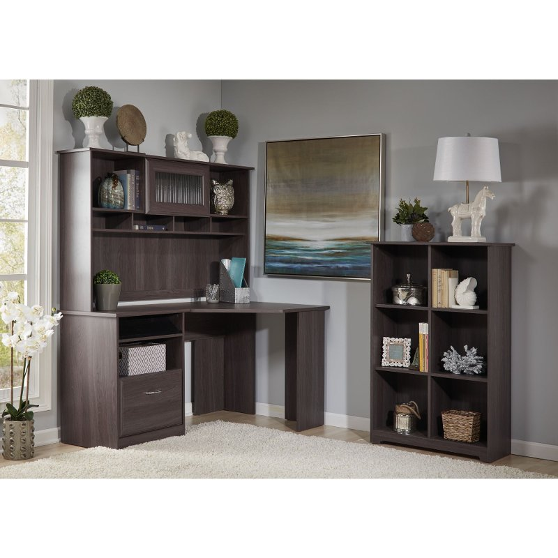 Heather Gray Corner Desk with Hutch, 6 Cube Bookcase - Cabot