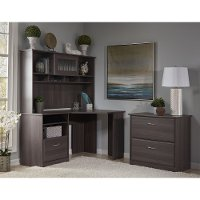 Heather Gray Corner Desk with Hutch, Lateral File - Cabot