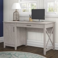 Gray Single Pedestal Desk (54 Inch) - Key West