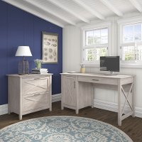 Gray Single Pedestal Desk, Lateral File (54 Inch) - Key West