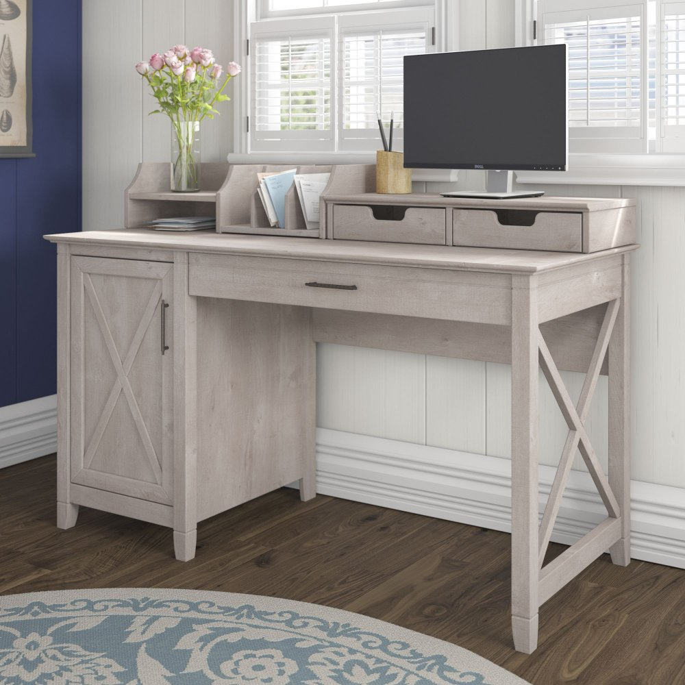 Gray Single Pedestal Desk And Organizer 54 Inch Key West Rc Willey Furniture