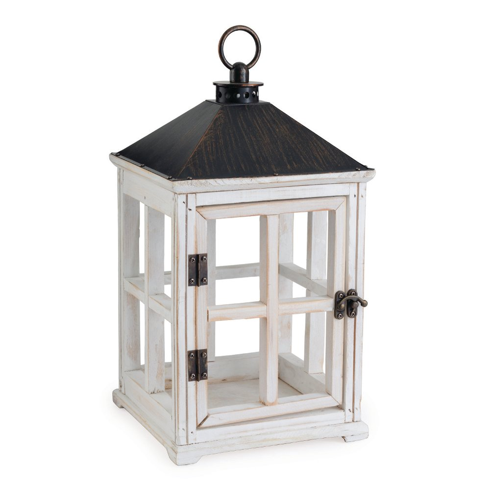 Weathered White Wooden Candle Lantern - Candle Warmers | RC Willey  Furniture Store