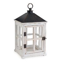 WLWHT/LANTERN/WARMER Weathered White Wooden Candle Lantern - Candle Warmers