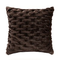 Brown Faux-Fur Square Throw Pillow - Hutchins