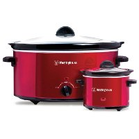 Red 8-Quart Slow Cooker With Matching .6-Quart Sauce Warmer