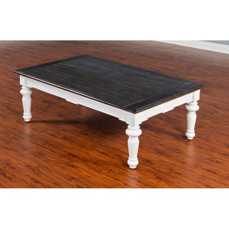 European Cottage Charcoal Gray & White Coffee Table