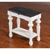 European Cottage Charcoal Gray & White Chair Side Table