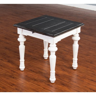 Charming European Cottage Charcoal Gray U0026 White End Table