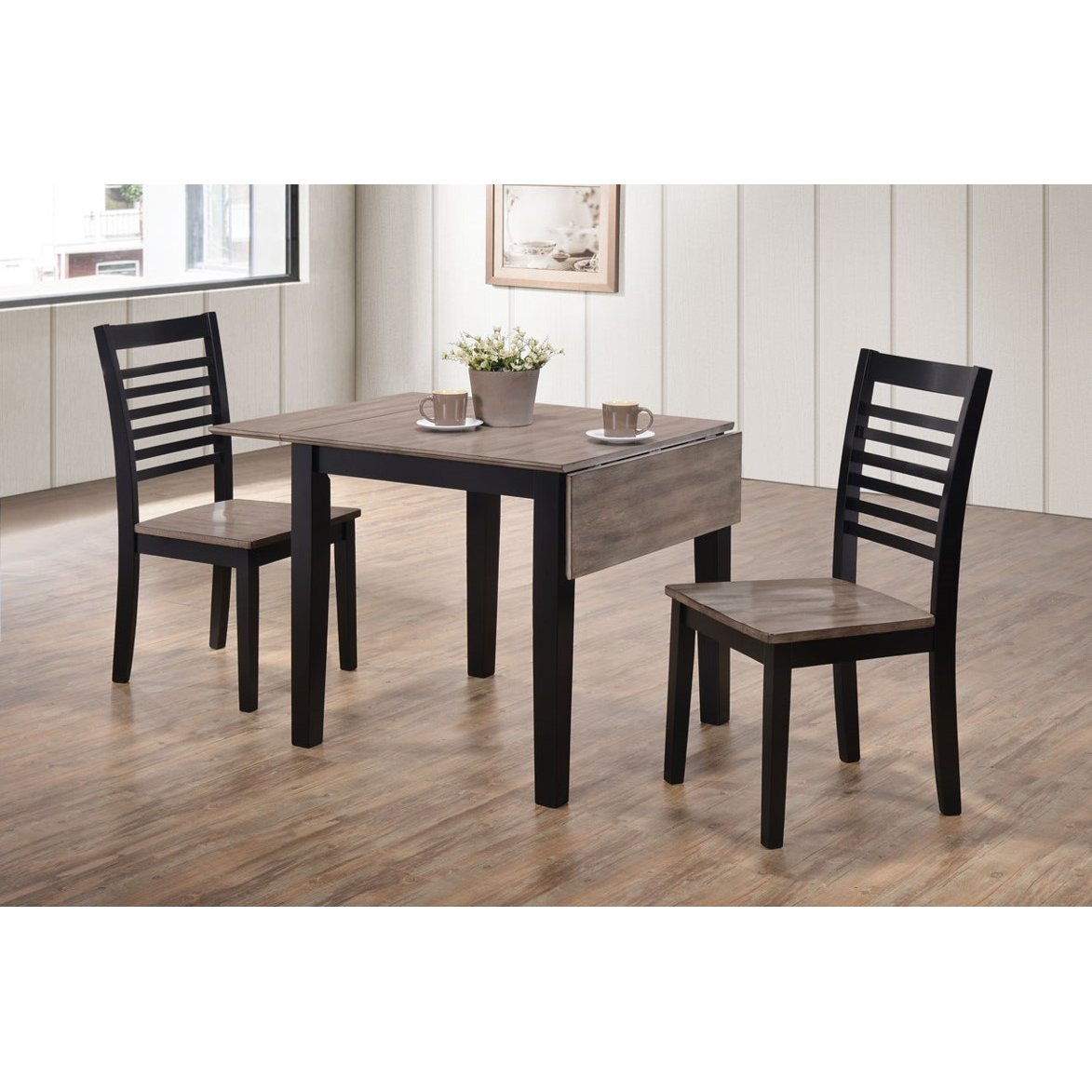... Clearance Ebony And Gray 3 Piece Drop Leaf Dining Set   South Beach  Collection